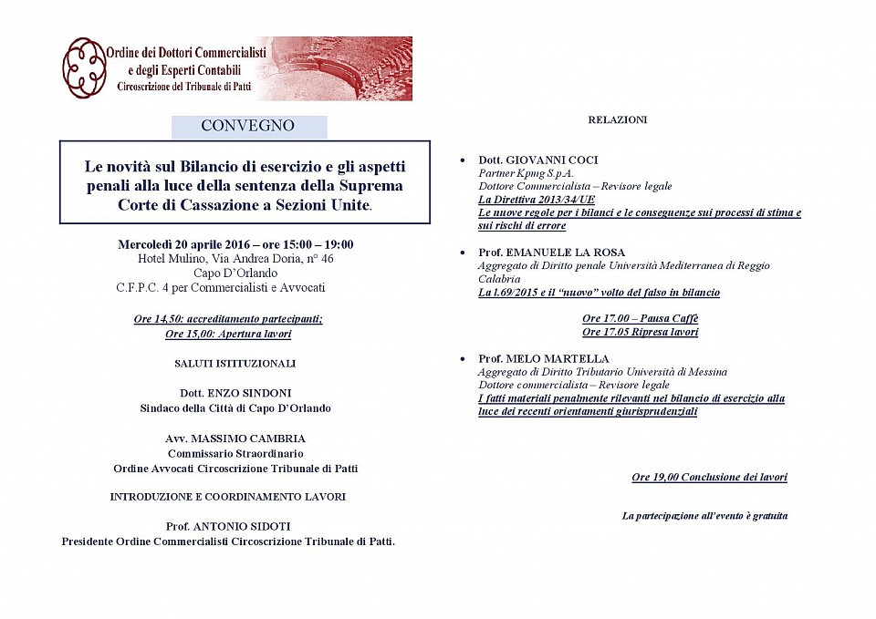 Le novità sul Bilancio di esercizio e gli aspetti penali alla luce della sentenza della Suprema Corte di Cassazione a Sezioni Unite.