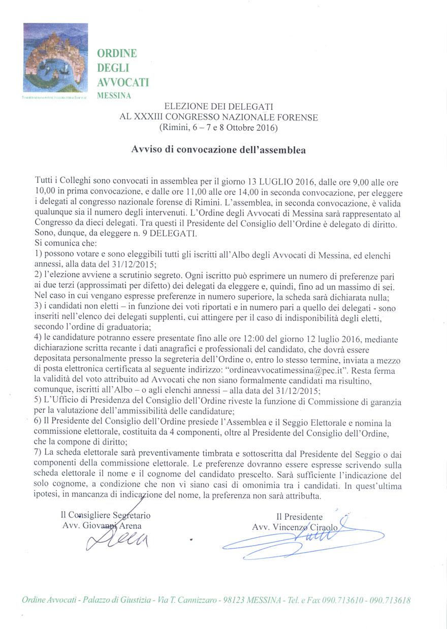 Avviso di convocazione dell assemblea per l elezione dei delegati al Congresso Nazionale Forense