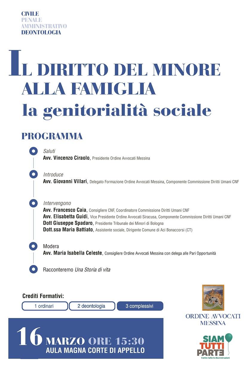 Il diritto del minore alla famiglia - La genitorialità sociale