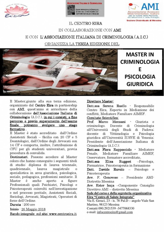Master in Criminologia e Psicologia giuridica