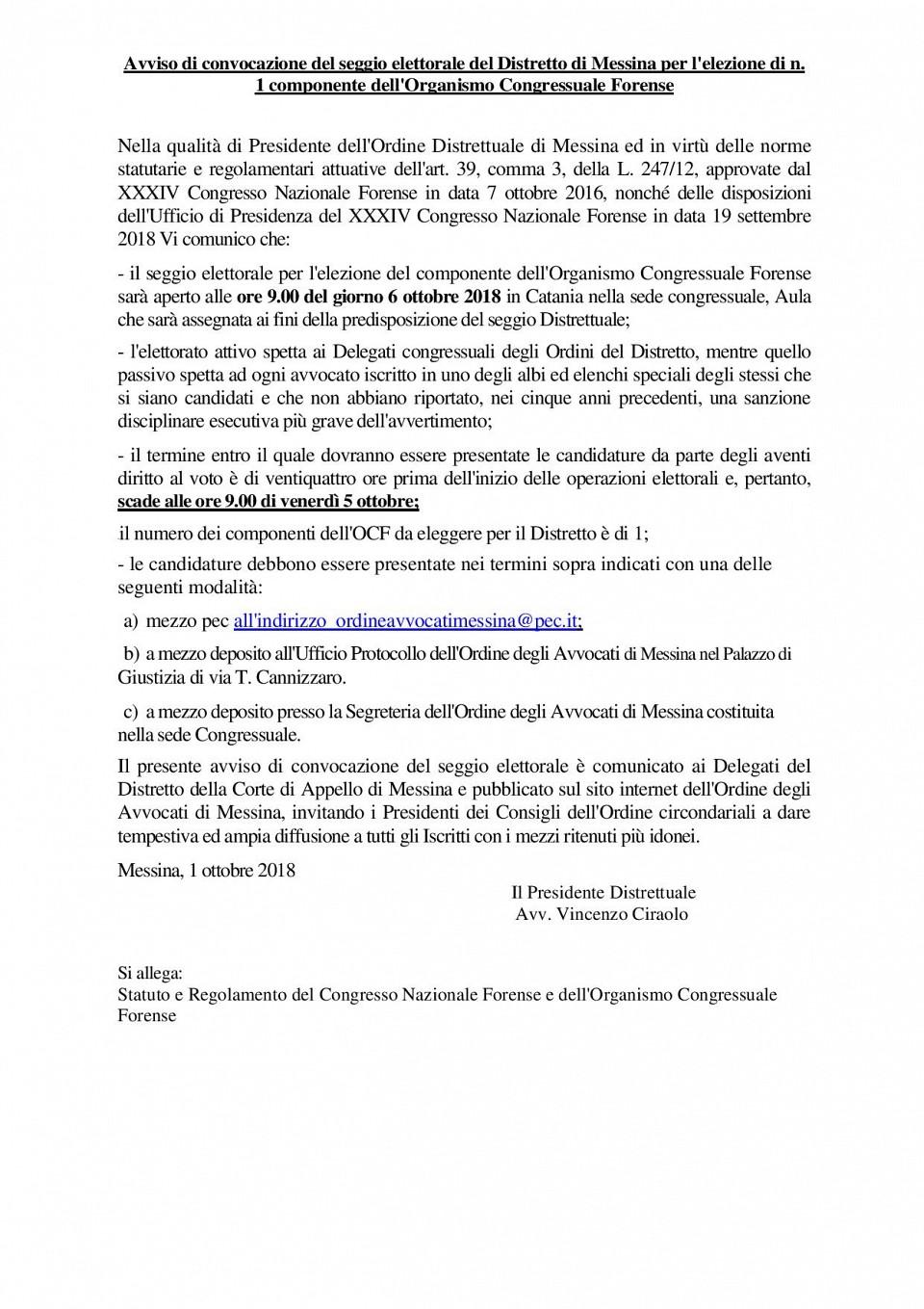 Avviso di convocazione del seggio elettorale del Distretto di Messina per l elezione di n. 1 componente dell Organismo Congressuale Forense