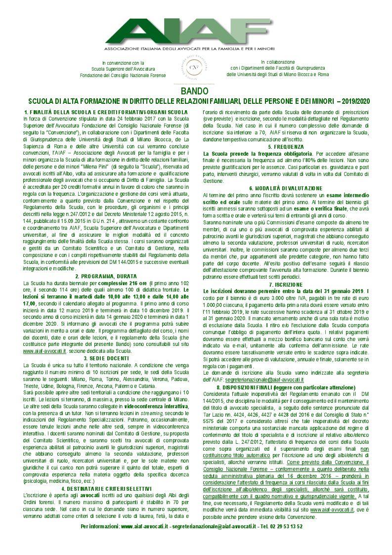 Scuola di Alta Formazione in Diritto delle relazioni familiari, delle persone e dei minori - MILENA PINI 2019-2020