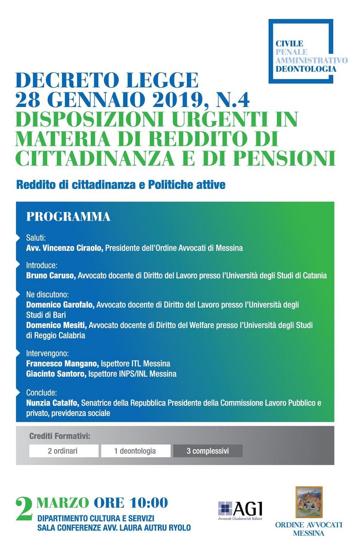 Decreto Legge 28 gennaio 2019 n.4 - Disposizioni urgenti in materia di reddito di cittadinanza e di pensioni