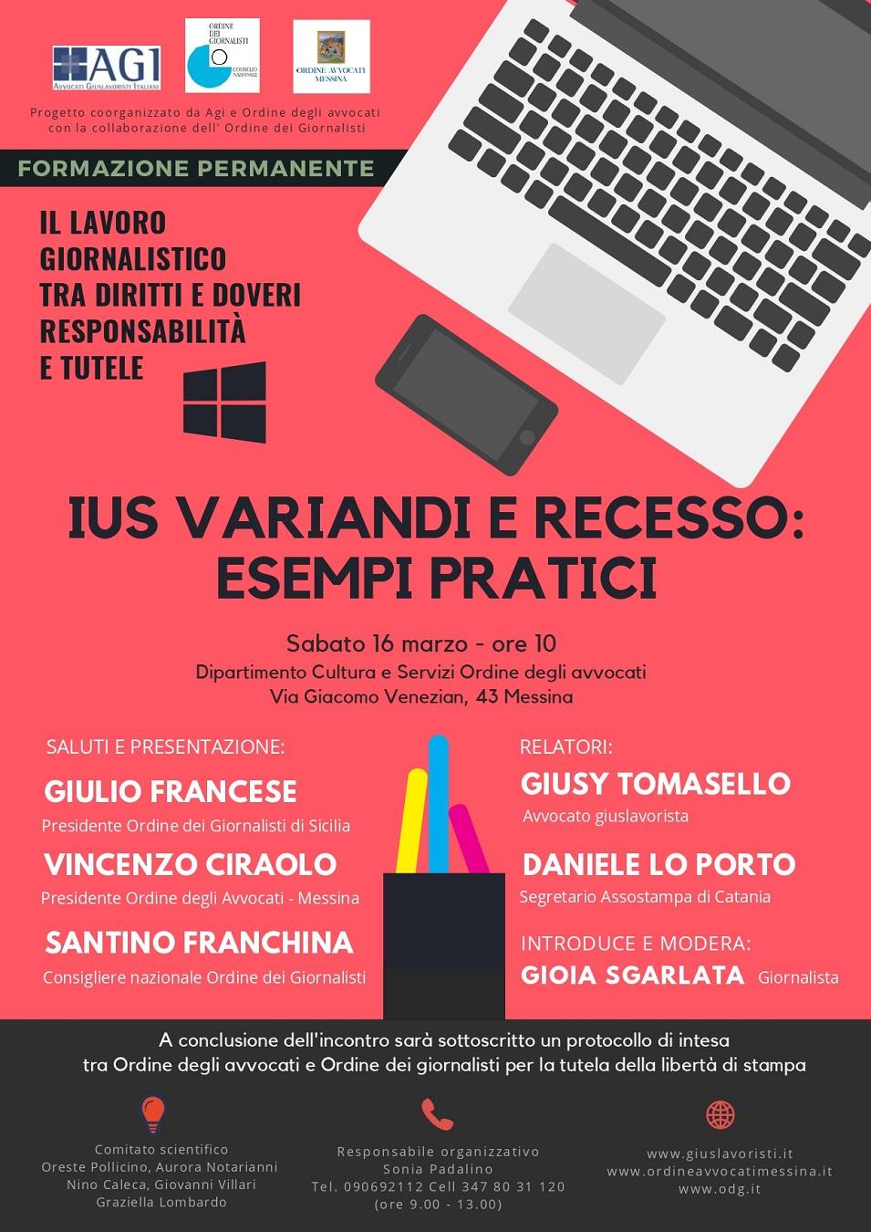 Il Lavoro Giornalistico tra diritti e doveri - IUS VARIANDI E RECESSO: ESEMPI PRATICI