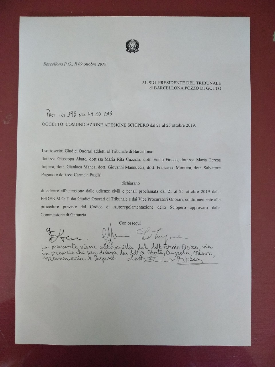 Comunicazione sciopero giudici onorari Barcellona P.G.
