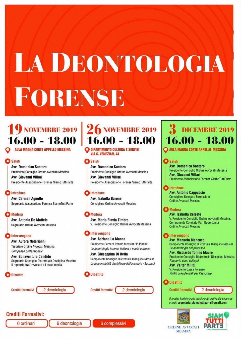 La Deontologia Forense - cambio sede