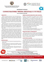 """Master di I livello in """"Consumatore, Media Digitali e Tutele"""" - Università di Messina"""
